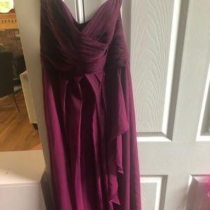 David's bridal strapless crinkle chiffon dress